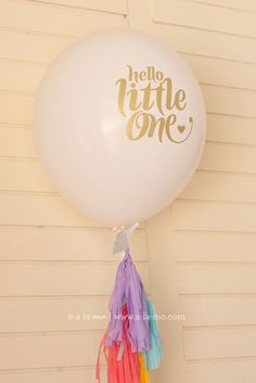 "Super-cute ""Hello Little One"" Balloon Tassel Decor - SO adorable!"