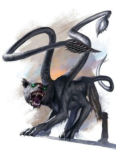 The 10 Most Memorable Dungeons & Dragons Monsters - Displacer Beast   Create your own roleplaying game books w/ RPG Bard: www.rpgbard.com   DND ADND PFRPG W40K WFRP COC BRP DCC TOR VTM GURPS Dungeons and Dragons Pathfinder RPG Warhammer 40k Fantasy Star Wars Exalted World of Darkness Dragon Age 13th Age Iron Kingdoms Fate Core Savage Worlds Shadowrun Call of Cthulhu Basic Role Playing Traveller Battletech The One Ring d20 Modern science fiction sci-fi horror art creature monster character…