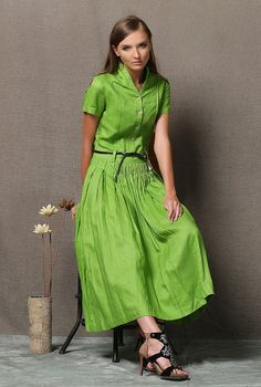 Lime Green Linen Dress  Maxi Length Pleated Fit & by YL1dress