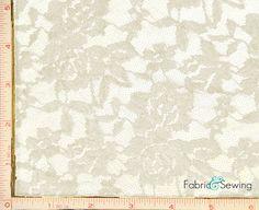 Cream Beige Big Flower Chopper Bar Stretch Lace by FabricAndSewing