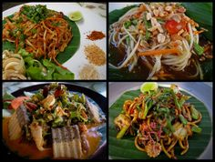 Would love to learn how to make authentic Thai Food dishes like these: Pad thai, som tam, wing bean salad, & noodles at Pun Pun, Chiang Mai