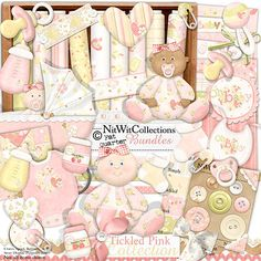 Digital scrapbooking baby girl and card making baby girl kit.  Isn't she precious in pink?! FQB - Tickled Pink