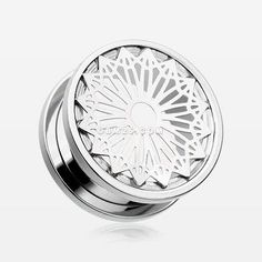 A Pair of Mandala Zen Flower Steel Screw-Fit Tunnel Plug