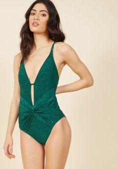 Twist Come True One-Piece Swimsuit in Spruce   ModCloth