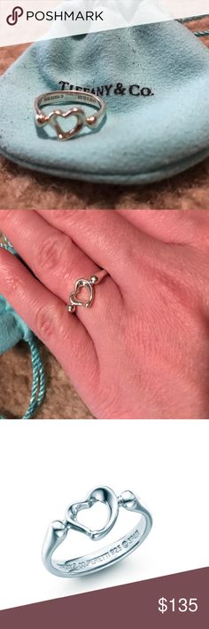 Tiffany & Co Ring Beautiful Elsa Peretti Open Heart Ring - sterling silver. Treat your self or would make an excellent Christmas  gift  Tiffany & Co. Jewelry Rings