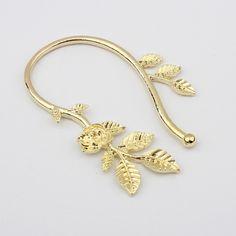 Rose Vine Single Ear Cuff (Gold)