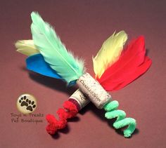 2 Piece Pipe Cleaner & Feather Toy Set for Cats by TnTPetBoutique Homemade Cat Toys, Diy Cat Toys, Best Pets For Kids, Cool Pets, Pet Fresh, Cat City, City Kitty, Guinea Pig Toys, Guinea Pigs