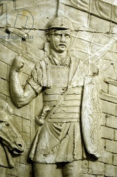 Roman legionary on sentry duty, from Trajan's column. Erected by emperor Trajan 106-113 and carved in low relief with narrative of his two campaigns in Dacia. Now topped with statue of St Peter.