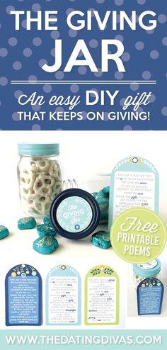 The Giving Jar- Thanksgiving Gift Idea Easy Diy Gifts, Creative Gifts, Homemade Gifts, Cute Gifts, Diy Arts And Crafts, Jar Crafts, Giving Plate, Mason Jar Gifts, Mason Jars