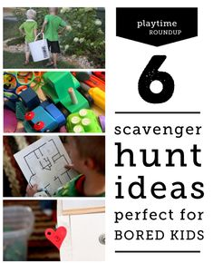 Six different types of scavenger hunts to send bored and restless kids on - each can be modified a hundred different ways so the possibilities are endless #kids #hunt