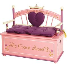 Give your little girl a fun place to sit in her room with this princess storage bench seat. The seat lifts up to reveal a storage area that is suitable for toys or out-of-season clothes. The heart and crown design gives the piece a regal look.