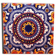 Mexican Ceramic Tiles for Sale - Mexican Tile Company Painted Rocks, Hand Painted, Traditional Tile, Talavera Pottery, Mexican Folk Art, Mexican Tiles, Decorative Tile, Tile Patterns, Bunt
