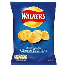 Walkers Cheese and Onion - the little black dress of the world. simply the best. Walkers crisps are a staple Salt And Vinegar Crisps, Cheese And Onion Crisps, Potato Crisps, Bacon Crisps, Gourmet Recipes, Snack Recipes, Snacks, Top Recipes, Food Recipes