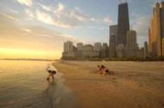Oak Street Beach, Chicago, IL. A beach in the city.