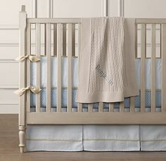 I think this may be my new favorite boy crib bedding! Seersucker and European anchor print bedding collection from Restoration Hardware Baby & Child.