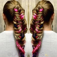 Six strand braid with ribbon and French fishtail combination     Updos  Braids  Hairdos  Hair Dos  Braid Hairstyles  French Braids  Up Dos   Twists  Hair Weaves