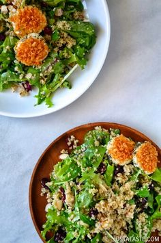 QUINOA SALAD WITH BAKED GOAT CHEESE.
