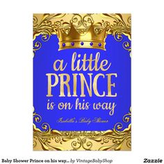 Baby Shower Prince on his way Gold Royal Blue 5x7 Paper Invitation Card