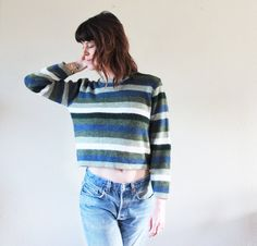 / / / vintage sweater top. I love the chunky colorblock stripes. slight cropped fit, USA made, super cozy. / / / fits like a size: