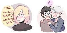 "randomsplashes: ""consider this: that awkward moment when u call victor 'dad' and he proceeds to tell ur other dad yuuri about it (on redbubble!!) "" bonus: that moment when yurio calls u and ur fiance..."
