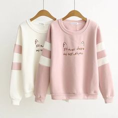 new autumn winter Women cat ear embroidery T-Shirt Female Loose Round Neck T Shirt Tassel Design ladies plus velvet warm tops Harajuku Fashion, Kawaii Fashion, Cute Fashion, Fashion Outfits, Fashion Fashion, Ropa Color Pastel, Stylish Outfits, Cool Outfits, Mode Kawaii