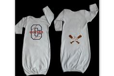 Monogram Baseball Layette Gown Take Me Home Outfit  ..   Baby Boy Clothes Great for Twins ....Sports  Gift Set by sassylocks on Etsy https://www.etsy.com/listing/100995035/monogram-baseball-layette-gown-take-me