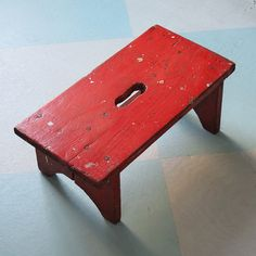 On Reserve For Cottagecollection: Rustic Wooden Foot Stool With Red Paint