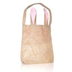 Wholesale Blanks New Unique Design Burlap Easter Tote Jute Easter Bunny bag With Bunny Ears Easter Baskets