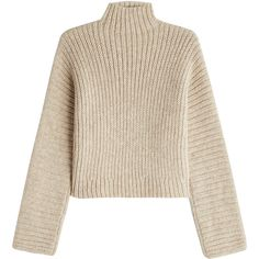 Rosetta Getty Turtleneck Pullover ($1,150) ❤ liked on Polyvore featuring tops, sweaters, beige, crop top, beige sweater, sweater pullover, cropped turtleneck sweater and cropped sweaters