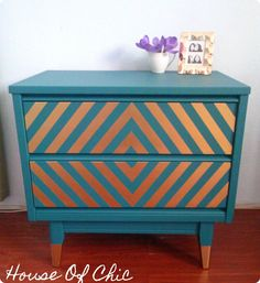 Modern Teal & Gold Nightstand | House Of Chic