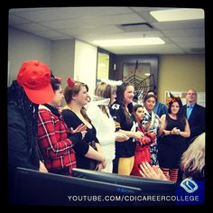 CDI College Calgary City Centre campus students line up for the Halloween costume contest #CDICollege #Halloween #costumes #students #DIY #creative #creativity #lineup #contest #Calgary #AB #Alberta #funny #fun #smiles #adorn #apparel #array #attire #bedeck #budleup #change