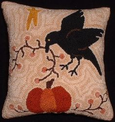 Primitive Needle Punch Pillow Crow Pumpkin Fall by thetalkingcrow