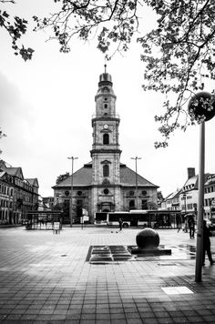 Cityscape, in Erlangen-Germany White Photography, Street Photography, World Images, Germany, Stock Photos, Cold War, Black And White, Building, Travel