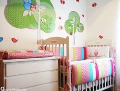 Quarto de bebê com papel de parede coruja | Quarto de bebê - Decoração, bebês, gravidez e festa infantil