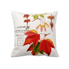 Autumn Pillow Cover Autumn Leaves Maple Leaf Red Orange Fall Decor Cotton and Burlap Pillow