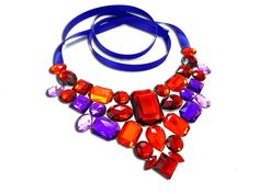 Royal Purple and Red Rhinestone Statement by SparkleBeastDesign