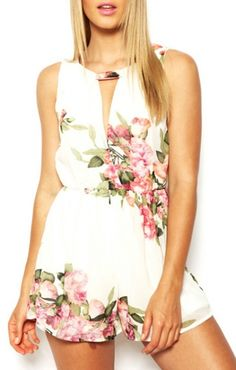 Flowers Print Deep V-neck Sleeveless Chiffon Jumpsuit