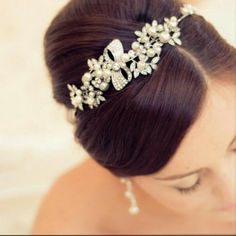 My gorgeous crystal and pearl wedding hairband from ayedo.co.uk thanks to my lovely almost mum in law x
