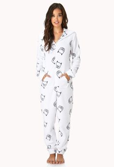 I have to get this Cool Cat PJ Onesie! Perfect for the crazy cat lady! Dress Me Up, I Dress, Onesie Pajamas Women, Womens Pjs, Pajama Set, Winter Outfits, Onesies, My Style, How To Wear