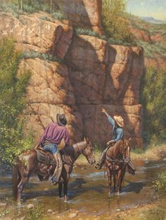 """""""Tall Tales"""" ©2013 Steve Atkinson 40X30"""", oil/ linen   These cowboys are discovering that they aren't the first ones to be able to spin a yarn."""