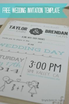 Customizable Wedding Invitation Template With Inserts