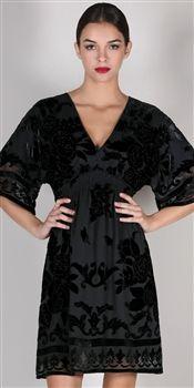 Hale Bob  'Velvet Romance' Black Beaded Velvet Dress
