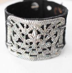 Boho Leather cuff, black, neutral bracelet, shabby chic, shabby chic jewelry, sundance, sundance style, boho, leather bracelet, Boho leather