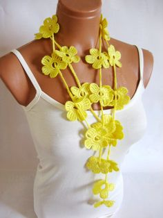 Crochet Yellow Flower Lariat Scarf Fashion by WomanStyleStore, $25.00