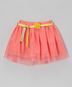 Sugar Coral & Yellow Flower Belted Skirt - Girls by Eddie & Stine by Eddie Bauer #zulily #zulilyfinds