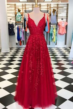 3a4c03f67 Gorgeous A Line V Neck Spaghetti Straps Open Back Dark Red Long Prom  Dresses with Appliques Formal Elegant Evening Party Dresses sold by Ulass.