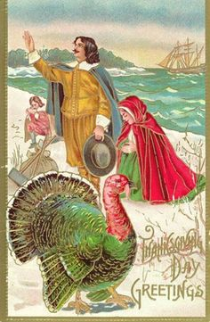 thanksgiving vintage pictures | vintage Thanksgiving turkey with pilgrims family