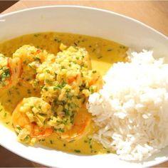 Scampis met curry en rijst