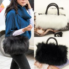 Leather & Faux Fur Tote Clutch //Price: $8.65 & FREE Shipping // #shop #clutch #bagsdesigns