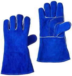 "US Forge 400 Welding Gloves Lined Leather, Blue - 14"" - Welding Safety Gloves - Amazon.com"